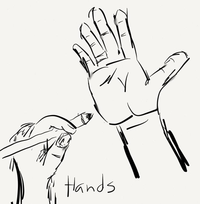 hands sketch by joe bustillos