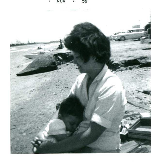 1959-11 mommy & me on the beach.