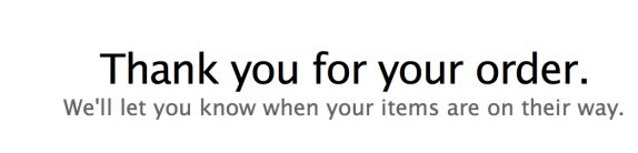 Email acknowledgement of iPhone 6 order (from iPad!)