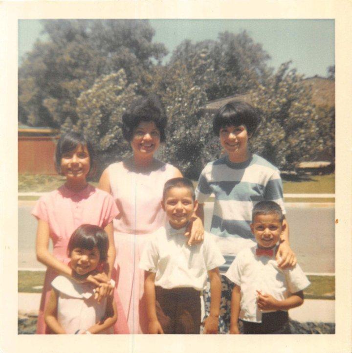 1960s Walnut Creek Easter Sunday with Joyce, Joe, Matt, Mich, mom & Kathie