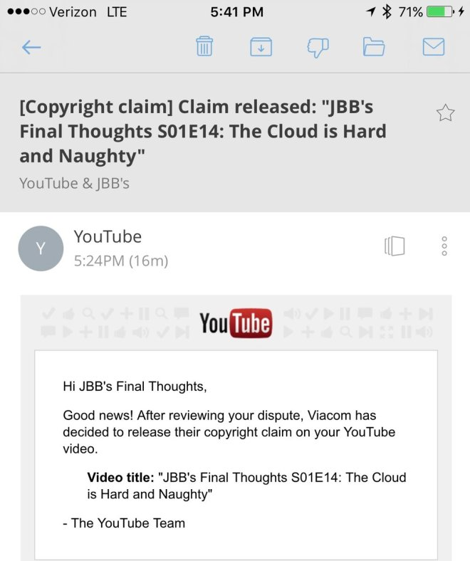 JBB's Final Thoughts YouTube Copyright Claim
