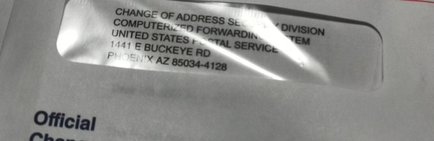 USPS Change-of-Address envelope