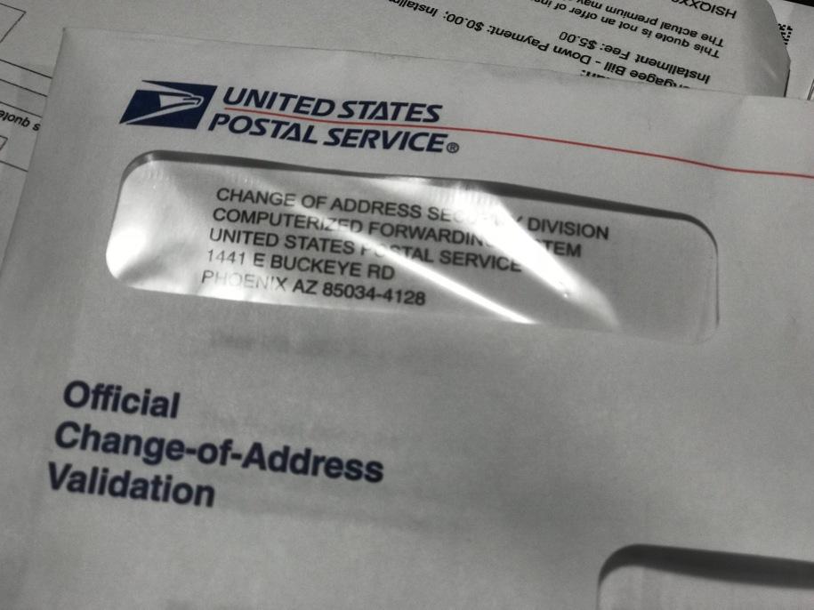 USPS Change-of-Address envelope