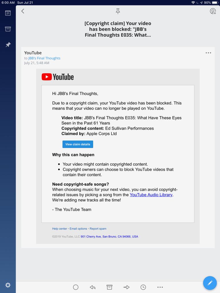 2019-07-21 YouTube - Video Blocked Ed Sullivan claim