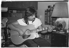 1990-06 COMM217 BW Photography - Self-Portrait- Guitar Dude