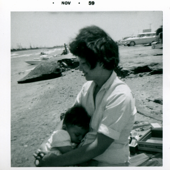 1959-11 Long Beach nap in Mom's arms