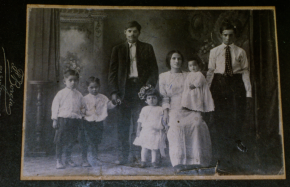 1900s young reyes family (left to right: jess, manuel, Jose Reyes (grandpa), lucy, Maria Reyes (grandma), tico & grandma's brother, gavino).