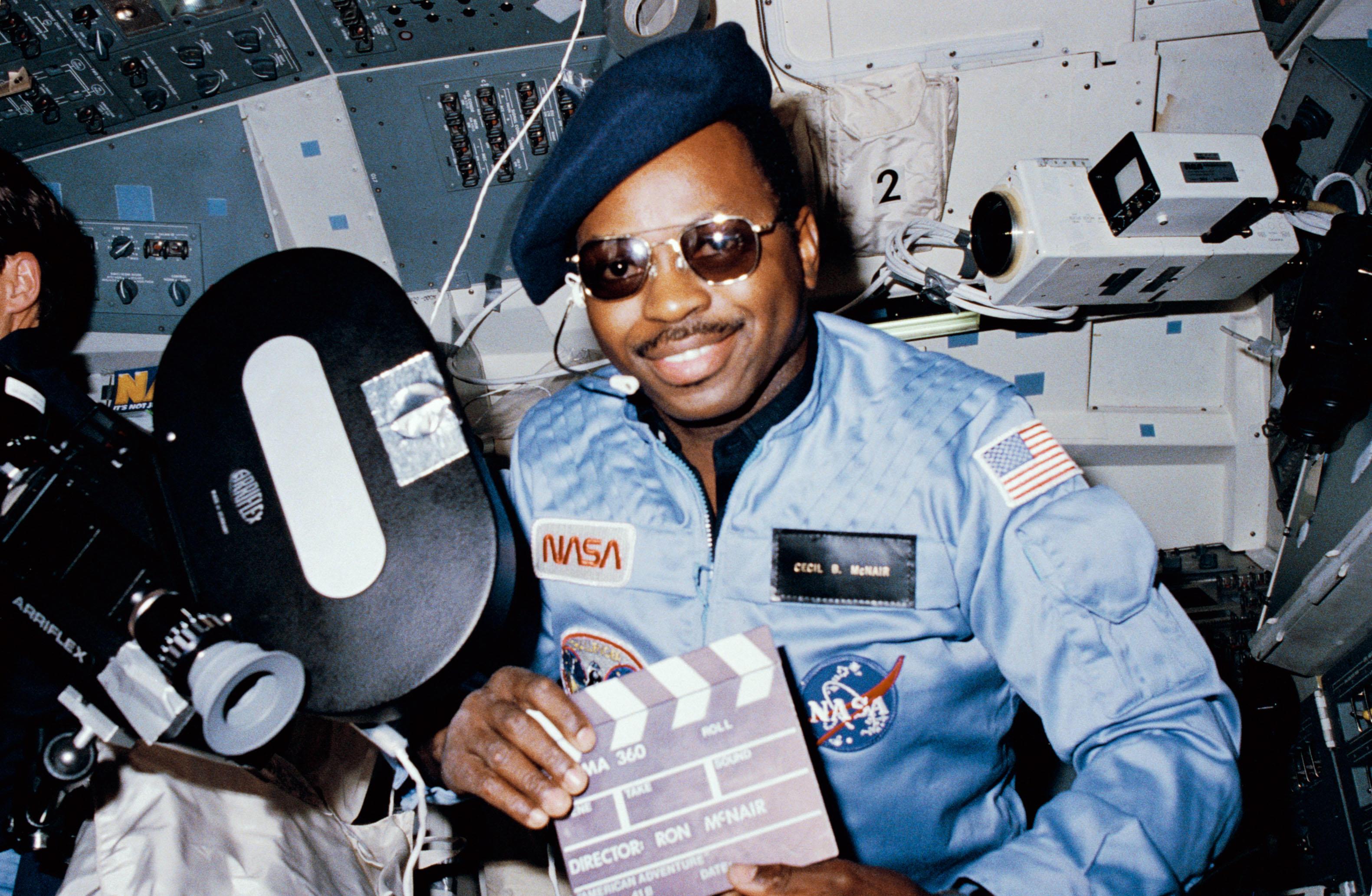 S84-27219 (3-11 Feb 1984) - Astronaut Ronald E. McNair, 41-B mission specialist