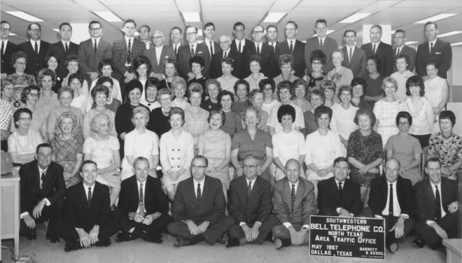 1967 bell telephone white office workers