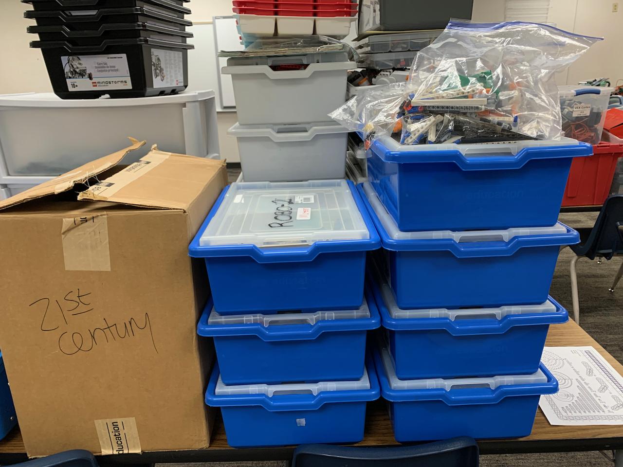 Stacks of LEGO robotics kits - 2021-06-25 Lab Prep - Day9 -06
